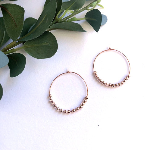 Petite Rose Gold Beaded Traditional Hoops