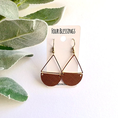 Cinnamon Saffiano Half Circle Triangle Dangles