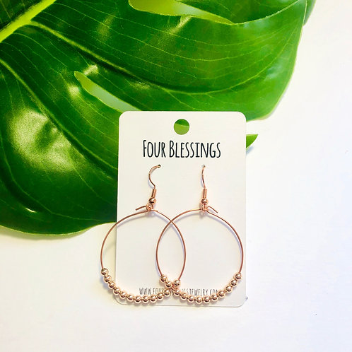 Tiny Rose Gold Beaded on Rose Gold Hoops