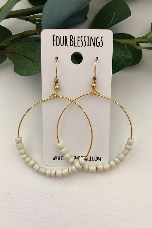 Cream Beaded on Large Gold Hoops