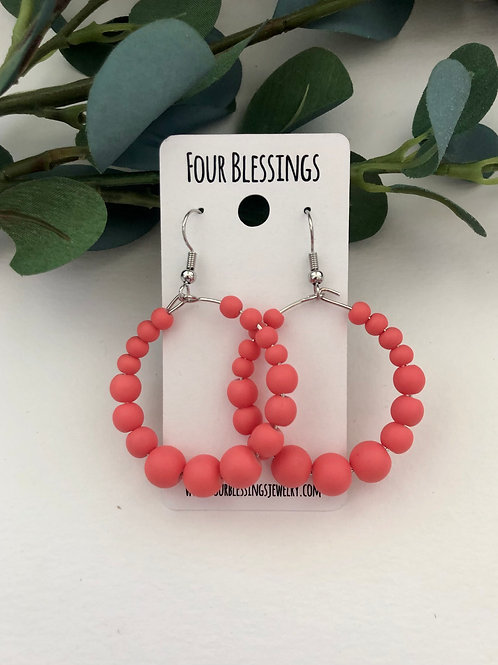 Coral Beaded on Silver Hoops