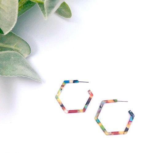 Multicolor Hexagon Hoops