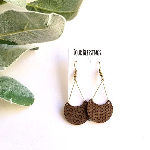 Brown Honeycomb Crescent Moon Dangles