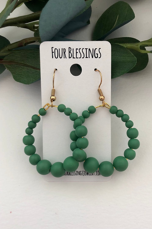 Sage Beaded on Gold Hoops
