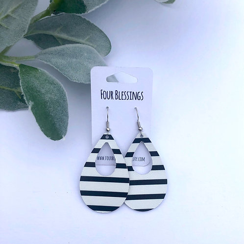 Black Stripes on White Broad Cut Out Teardrop