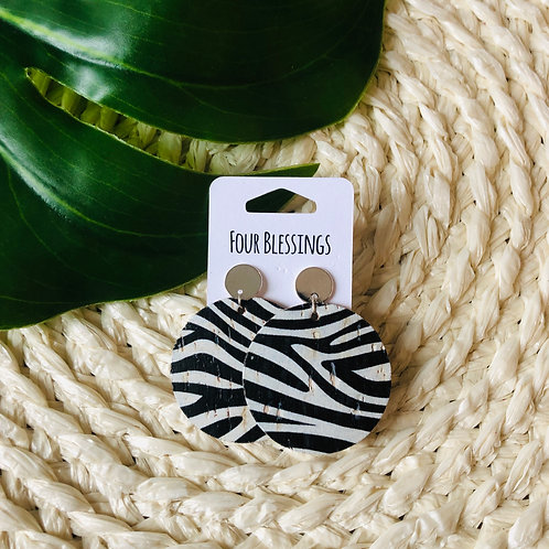 White and Black Zebra with Silver Post