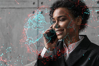 Businesswoman speaks phone and world map