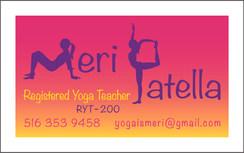 Meri Patella yoga business card