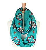 Turquoise Aztec Cross Infinity Scarf