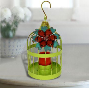 Flower Accented Lantern Candle Holder