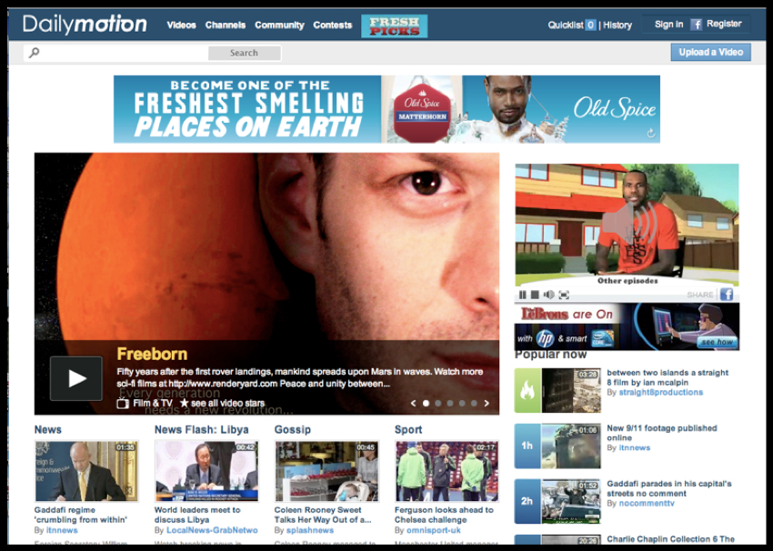 Daily Motion Homepage Feature