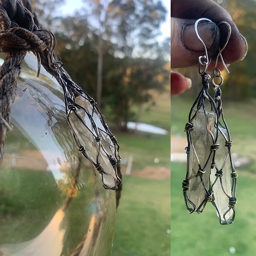 Fantasy caged crystal earrings