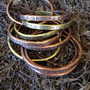 Stamped Brass And Copper Cuff.