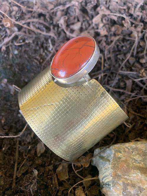 Red Jasper Brass cuff