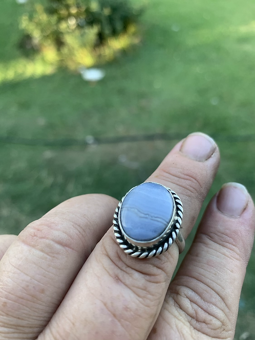 Blue lace agate sterling silver ring 8.5