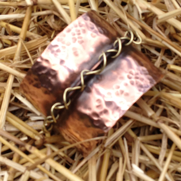 Copper Cuff woven brass laceing