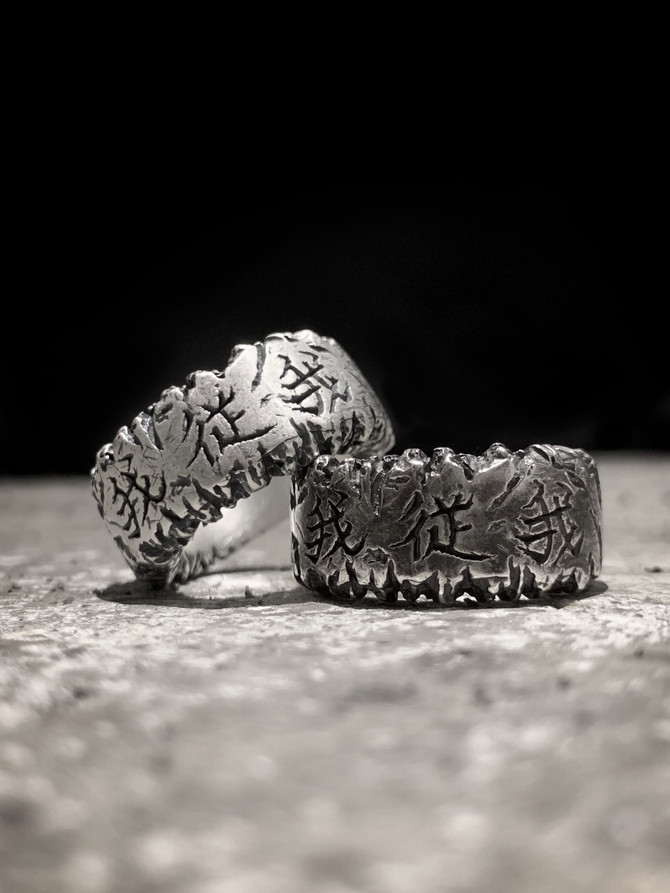 "New silver ring ""G E N"" (Mat silver & Shadow black) ⠀"