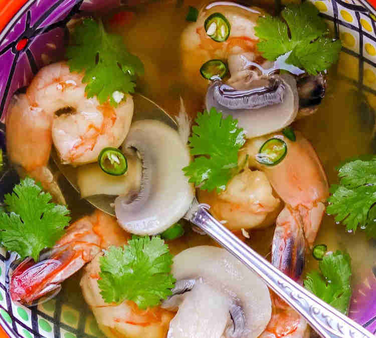 Spicy sweet and sour soup with shrimps