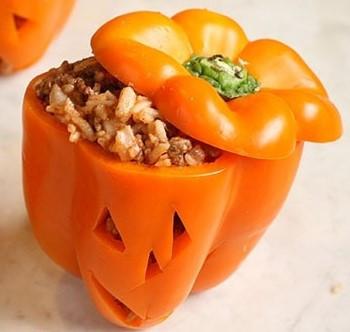 Halloween Stuffed Bell Peppers