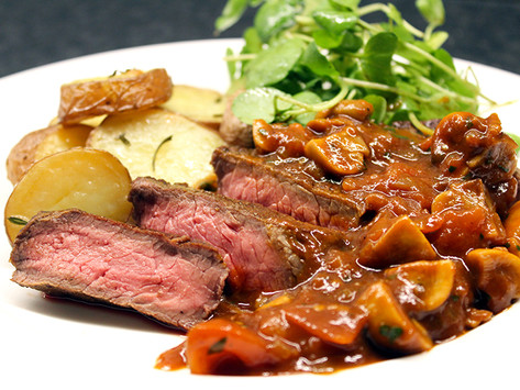Madeira Beef with baked Potatoes and Watercress