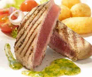 Grilled Tuna Steaks with Herb Sauce Recipe