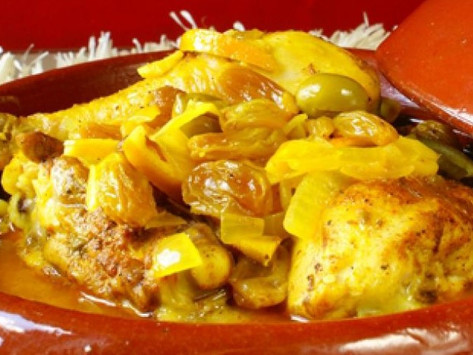 Tajine with chicken, green olives and candied lemons