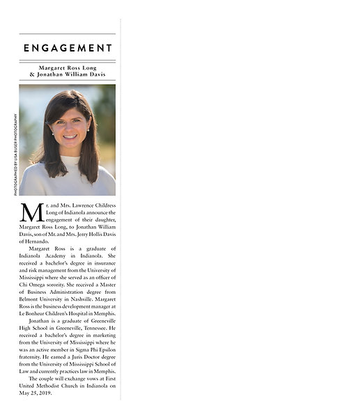 One-Third Page Engagement Announcement