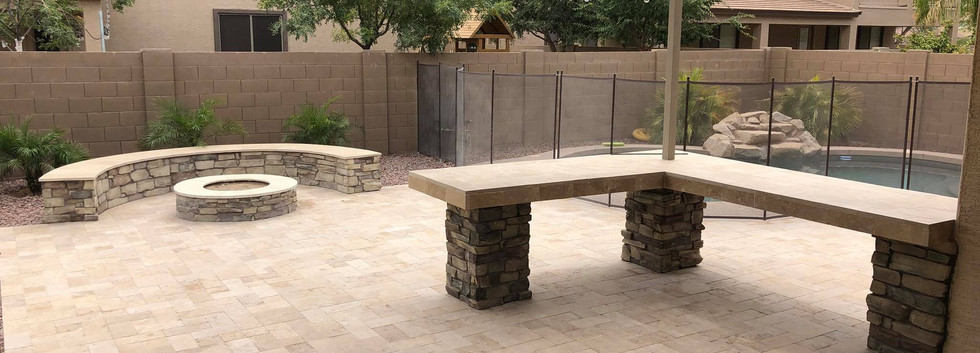 CUSTOM FIRE PIT AND BENCHES