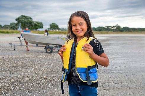 girl wearing a life jacket