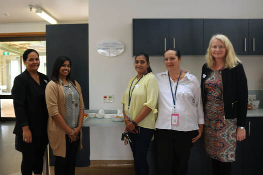 Royal District Nursing Services staff at the new Middlemore Hospital Spinal Unit kitchen