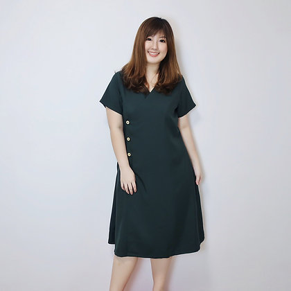 Shona Wrap Midi Dress in Forest Green