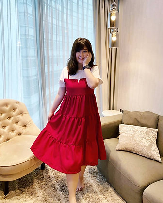 Arley Tiered Dress in Red