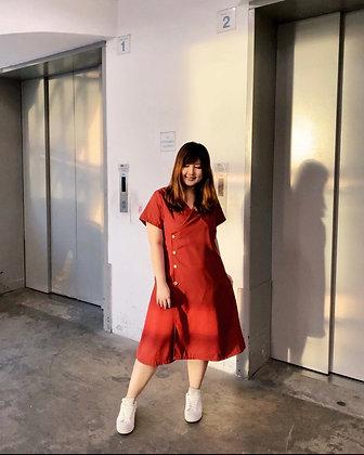 Shona Wrap Midi Dress in Burnt Orange
