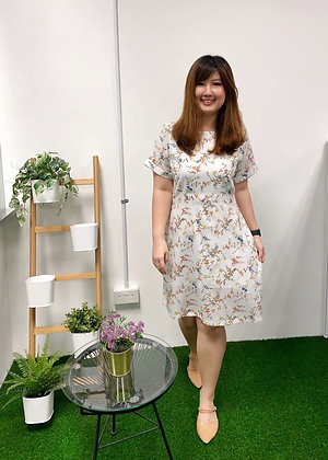 Eunise Floral Dress in White
