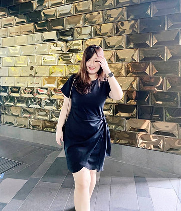Jazine Side-Tie Dress in Black