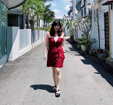 Jeanie Colourblock Romper in Maroon