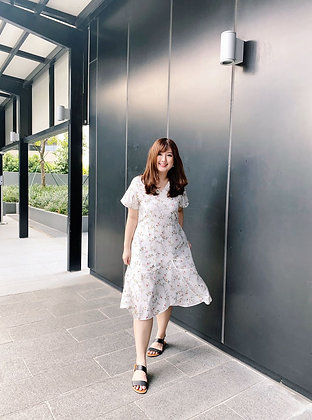 Melissa Floral Dress in White