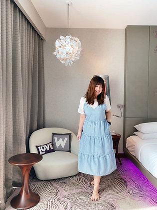 Gwenth Gingham Dress in Baby Blue