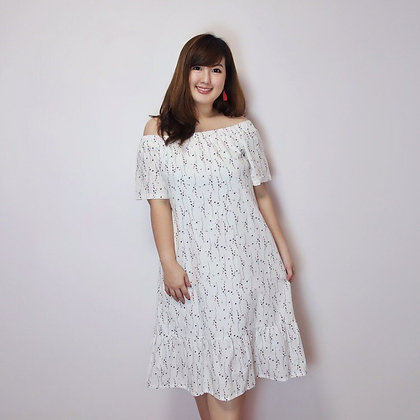 Nicolette Off-Shoulders Floral Dress in White