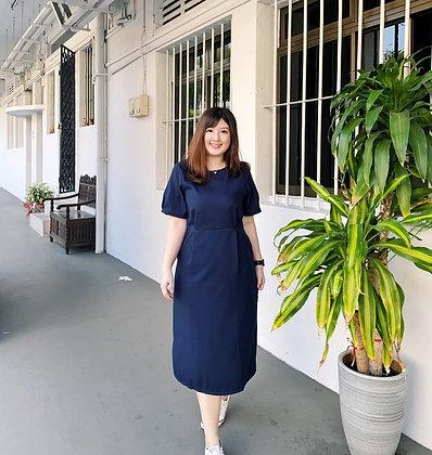 Daphne Midi Dress in Navy