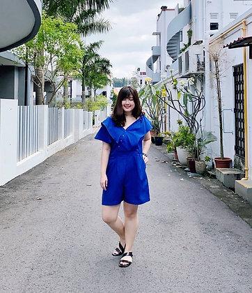 Xenia Asymmetrical Romper in Blue