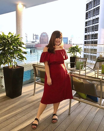 Beatrice Off-Shoulder Two-Pieced in Red