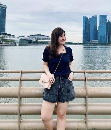 Zaria Black Washed Denim Shorts
