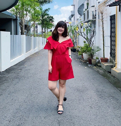 Xenia Asymmetrical Romper in Red