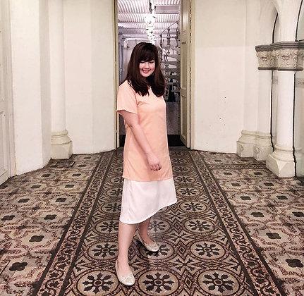 Gabriela Midi Dress in Pastel Peach