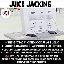AWARE OF JUICE JACKING ATTACK ( OR )PUBLIC CHARGING PORT ATTACK :