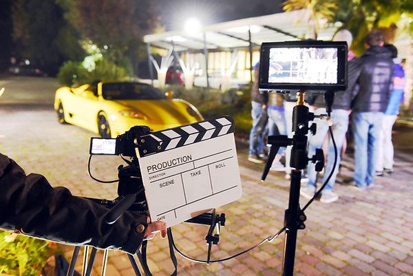 A video camera preparing to film a scene