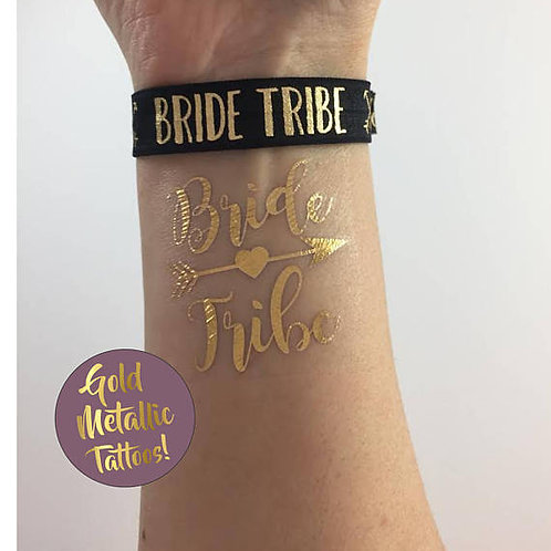 Bride/Bride Tribe Bachelorette Metallic Gold Flash Tattoos