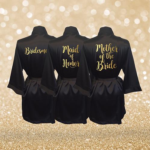 Black Satin Bridesmaid Robes