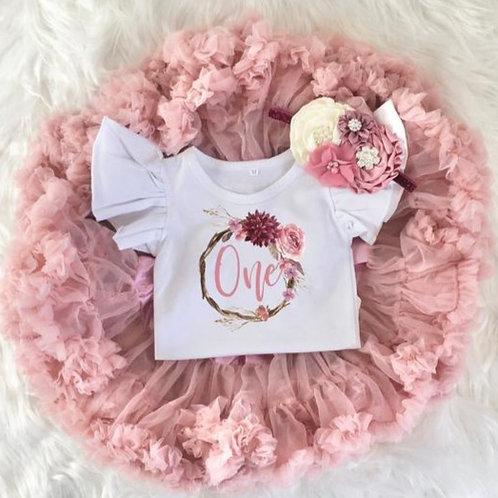 Mauve Floral Wreath 1st Birthday Girl Tutu Outfit